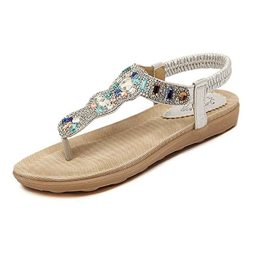Kauneus Women Sparkle Summer Shoes Glitter T-Strap Flats Comfy String Thong Sandals Silver ()