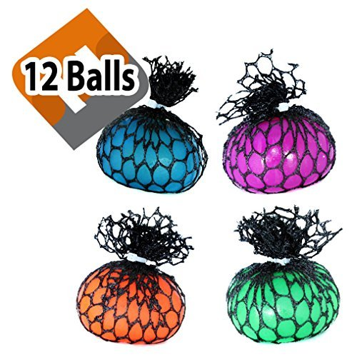 Moddan Assorted Mesh Covered Squishy Stress Ball Reliever - Set of 12 - Wholesale Mesh