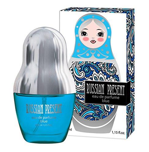 Russian Present BLUE Eau De Parfum Spray for Women, 35 ml (1.15 oz) - Fresh Floral Scent, Best Gift for Her + BE ORIGINAL