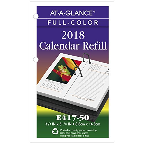 "AT-A-GLANCE Daily Desk Calendar Refill, January 2018 - December 2018, 3-1/2"" x 6"", Loose Leaf, Photographic (E41750)"