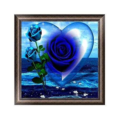 Bottone DIY 5D Blue Ocean Rose Heart Diamond Painting Kit Rhinestone Embroidery Cross Stitch Arts Craft Supply Decor Gift For Christmas Home Wall Wedding Valentine's Day Decor