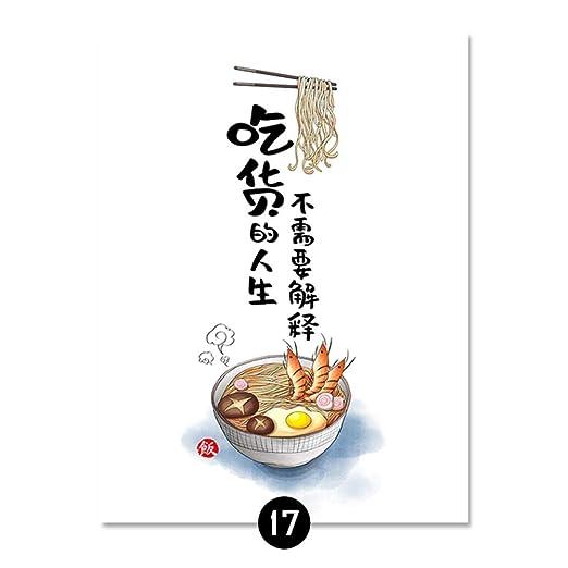 Cocina Lienzo Pintura Estilo japonés Fideos Gato Cartel Arte ...
