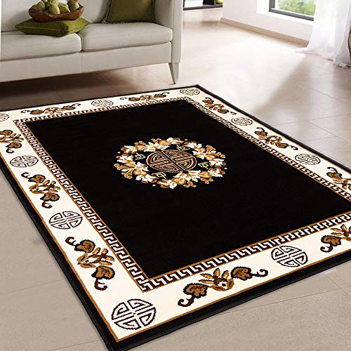 Maxstock Taj Mahal Collection Persian Traditional Design Rectangular Area Rugs -Black/Ivory/Beige/Mocha (5 Feet x 7 ()