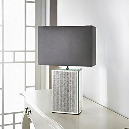Gold Square Glitter Mirror Table Lamp