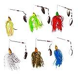 FREE FISHER 6Pcs Various Fishing Lure Spinnerbait,Bass Trout Salmon Hard Metal Spinner Baits Kit
