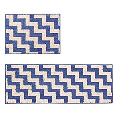 Wolala Home 2-Piece Sets Super Cozy Modern Shag Kitchen Carpets and Rugs Red Geometric Check Stripe Rubber Back Durable Machine Washable Kitchen Mat
