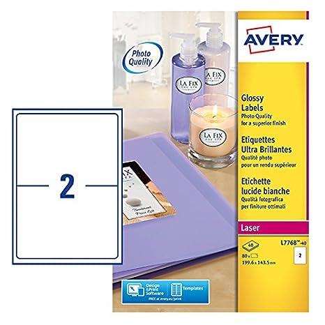 Amazon.com: Avery L7768-40 - Etiquetas autoadhesivas (2 ...
