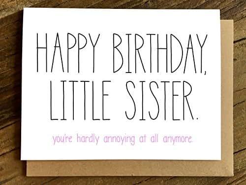 Amazon Com Little Sister Birthday Card Handmade