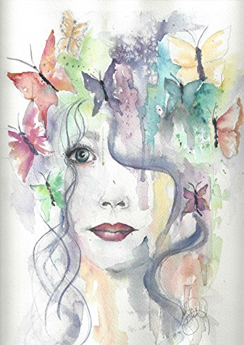 Butterfly Boho Blank Note Cards: 6 Artistic All Occasion Watercolor Cards, with Envelopes - Butterfly Girl