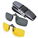 Aioink 2-Piece Polarized Clip-on Sunglasses and Car Glasses Holder for Sun Visor, Unisex Polarized Clip on Glasses for Driving and More