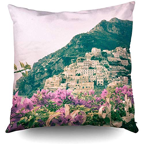 Woodrowv Throw Pillow Covers, Positano Amalfi Coast Decorative Throw Pillow Case 18X18 Inch,Home Decoration Pillowcase Zippered Pillow Covers Cushion Cover with Words for Book Lover Worm Sofa ()