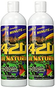 ALL NATURAL Formula 420 pirex-glass metal-ceramic cleaner, 2 Bottles, 16 Ounces Each