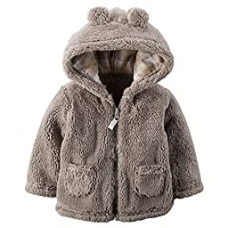 Carters Unisex Baby Hooded Sherpa Jacket (6 Months, Brown)