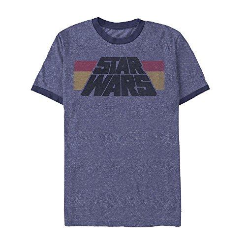 Star Wars Men's Horizontal Stripe Logo Heather Royal Blue/Navy Ringer (Stripes Ringer T-shirt)