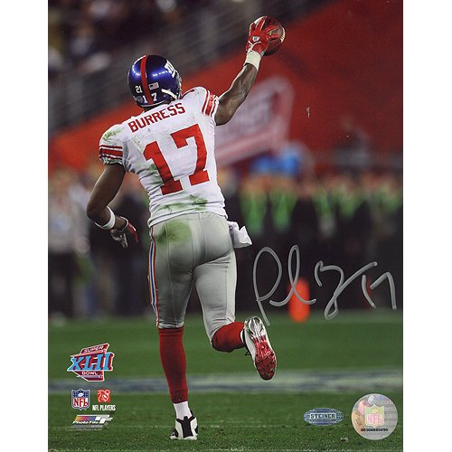 NFL New York Giants Plaxico Burress SB XLII Running Down Field after TD Photograph, 6x20-Inch