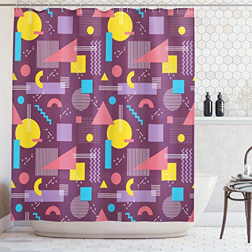 Geometric Decor Shower Curtain by Ambesonne, Square Triangles with Stripes Zig Zag Modern 80s Decor, Fabric Bathroom Decor Set with Hooks, 70 Inches, Plum Fuchsia Blue Earth Yellow