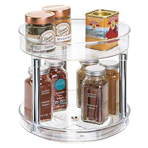 mDesign 2 Tier Lazy Susan Turntable Food Storage Container for Cabinets, Pantry, Fridge, Countertops - Spinning Organizer for Spices, Condiments - 9