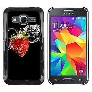Be Good Phone Accessory // Dura Cáscara cubierta Protectora Caso Carcasa Funda de Protección para Samsung Galaxy Core Prime SM-G360 // Fruit Macro Wet Strawberry