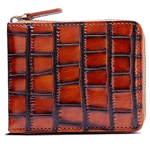 - RFID Men's Leather Zipper wallet Zip Around Wallet Bifold Multi Card Holder Purse (Embossing crocodile)