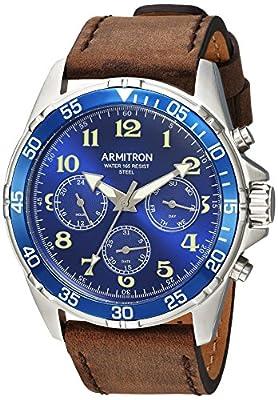 Armitron Men's 20/5220BLSVBN Multi-Function Dial Matte Brown Leather Strap Watch
