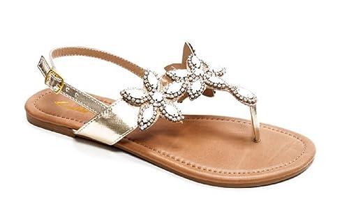 c83bac3beac8a1 Summer Beach Sandals Open Toes Diamond Studded Flats Thongs in Black