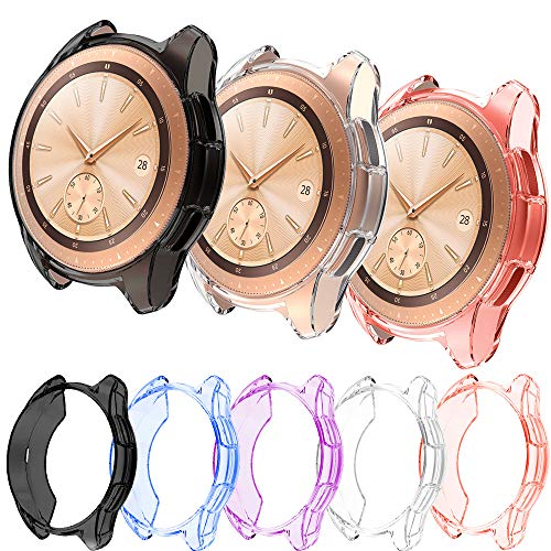 PINHEN 5pcs Case for Samsung Galaxy Watch 42mm SM-R810 - Slim Plated TPU Case Scratch-Proof Cover All-Around Protective Bumper Shell, 42mm