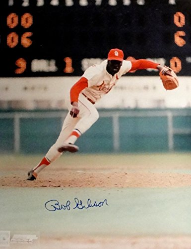 Bob Gibson Hand Signed Autographed 16x20 Photo Pitching Cardinals Wind Up COA Hand Signed Pitching 16x20 Photograph