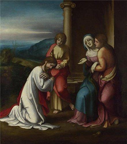 Oil painting 'Correggio - Christ taking Leave of his Mother,before 1514' printing on Perfect effect Canvas , 18x20 inch / 46x52 cm ,the best Powder Room gallery art and Home artwork and Gifts is this Reproductions Art Decorative Canvas Prints (The Origins Of Halloween Christian Perspective)
