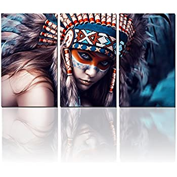 Beauty Native Woman Canvas Wall Art Paintings Feathered Indians Girl Art Prints for Home Walls Decor on Wrapped Canvas Set,12x20inch x3 pieces