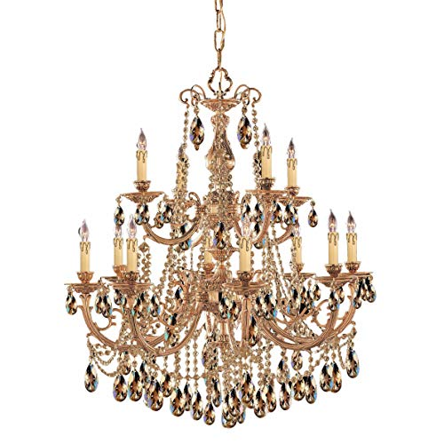 Crystorama 479-OB-GT-MWP Crystal Twelve Light Chandeliers from Etta collection in Brassfinish,