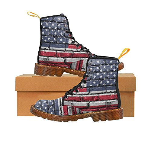 D-Story Shoes American Flag Lace Up Martin Boots For Men - Ladies American Flag Cowboy Boots