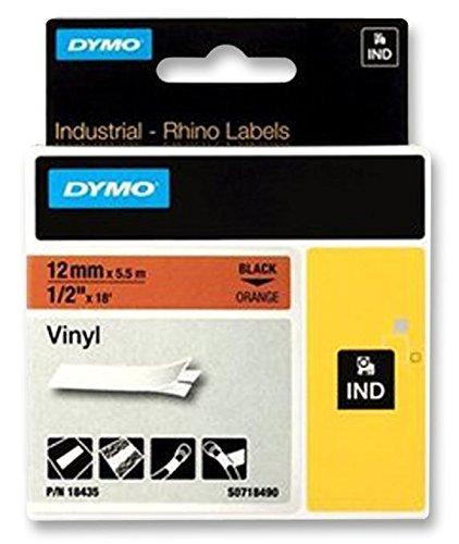 Dymo 18435 Self-adhesive vinyl - black on orange - Roll (0.5 in x 18 ft) 1 roll(s) - for Rhino 4200, 6000, 6000 Hard Case Kit, RhinoPRO 1000, 3000, 5000
