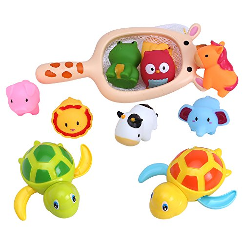 Bath Toy, Fishing Floating Squirts Animals Water Toy, Fish Net Game in Bathtub Bathroom Pool Bath Time for Kids Toddler Baby Boys Girls Bonus 2 Tortoise ( Pack of 12 )