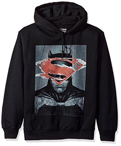Trevco Men's Batman v Superman Hoodie Sweatshirt, Poster Black, -