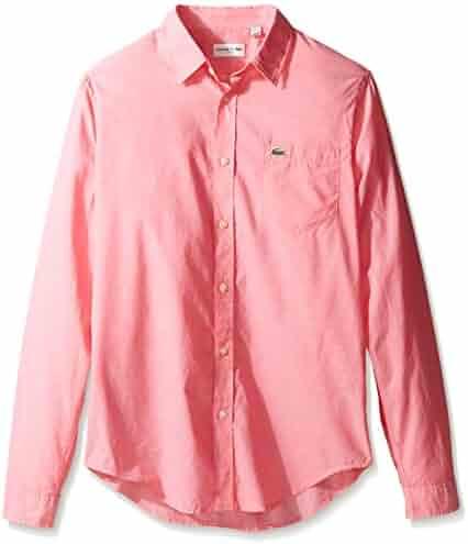 Lacoste Men's Long Sleeve Cotton Voile Slim Fit Woven Shirt