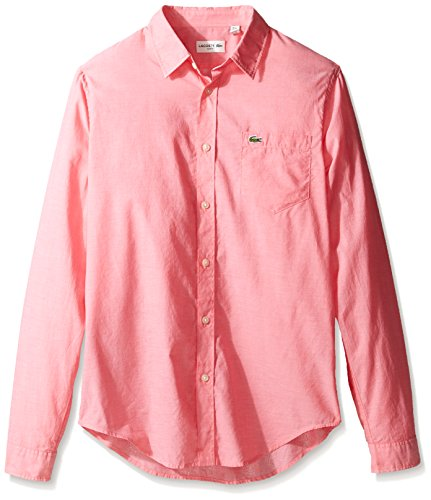 Long Sleeve Voile (Lacoste Men's Long Sleeve Cotton Voile Slim Fit Woven Shirt, CH3937-51, Sirop Pink/White, 42)