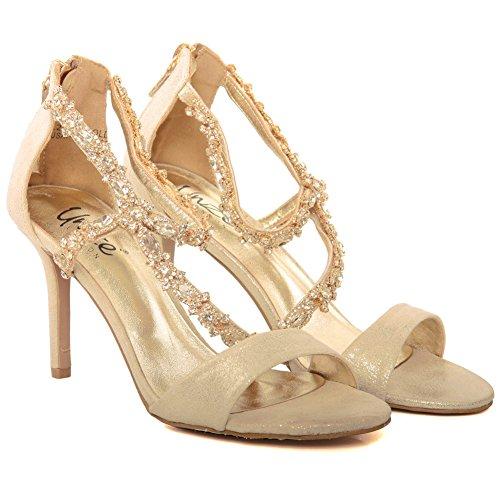 Unze Nuevas mujeres 'Gigi' Diamante Embellecido Peep Toe Alta Medias Talón de la tarde, Boda, Prom Party Shoes Tallas 3-8 Gold