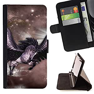 DEVIL CASE - FOR Samsung Galaxy S6 EDGE - Pegasus Stars Horse Wings Flying Mystical - Style PU Leather Case Wallet Flip Stand Flap Closure Cover