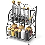Spice Rack, iSPECLE 2-Tier Foldable Shelf Rack Kitchen Bathroom Countertop, 2-Tier Standing Storage Organizer Spice Jars Bottle Shelf Holder Rack -Black
