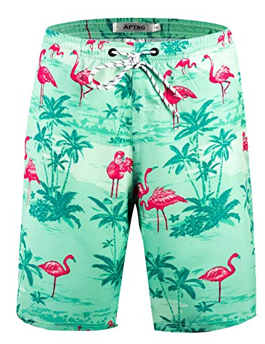 APTRO Men's Quick Dry Swim Trunks Long Elastic Waistband Swimwear Bathing Suits with Pockets (L, HW020-no Mesh)