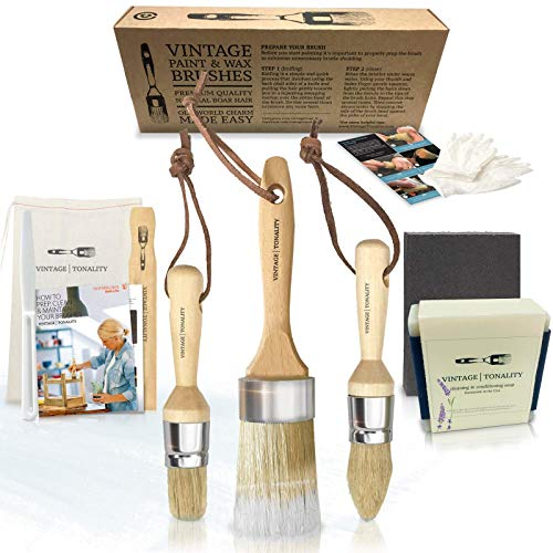 Vintage Tonality Pro Chalk & Wax Brush Set for Painting Furniture, 3 Paint Brushes, Works with Milk Paint, Clear Wax, Home Decor Large & Small Natural Hair Bristles Round, Oval, Flat Bristle Head from Vintage | Tonality