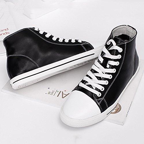 Odema Dames Lederen Oxfords Veterschoenen Platte Lowtop Hightop Fashion Sneakers Eenvoudige Casual Preppy Stijl Schoenen Hitopblack