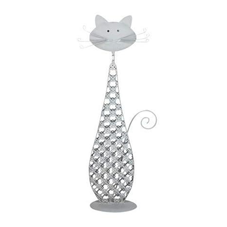 CAPRILO Figura Decorativa de Metal Gato Grande con Bigotes. Adornos y Esculturas. Decoración Hogar