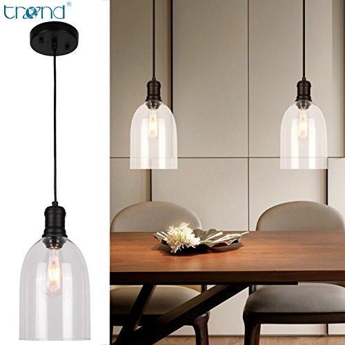 TREND Pendant Glass Kitchen Light Vintage Lamp Farmhouse Decor Industrial Adjustable Height Fixture. - Lamp Kitchen Island
