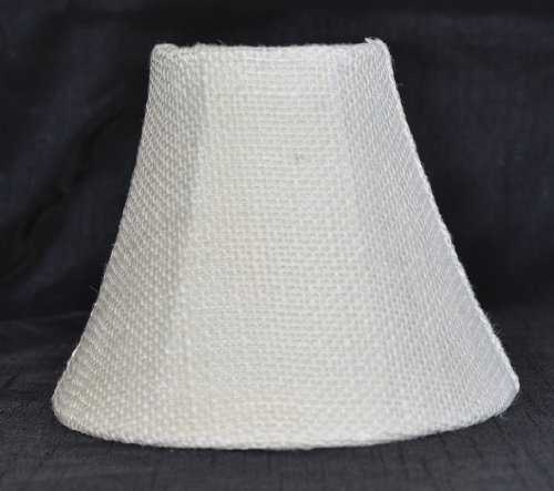Urbanest 10000501 Chandelier Lamp Shade 6-inch, Bell, Clip On, Burlap, Ivory Color - Ivory Contemporary Sconce