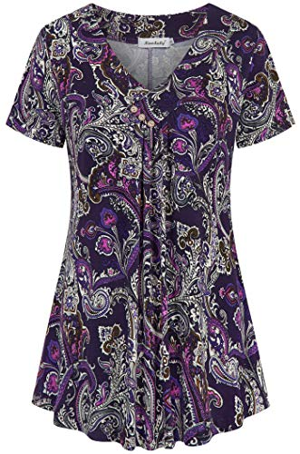 - Ninedaily Women's Tunic Summer Short Sleeve Top Loose V Neck Dressy Shirt Blouse (S/US 4-6, Purple)
