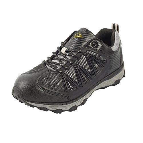 Black Steel Toe Slip - Safety Toe Athletic Shoes - Trainer Style, Steel Toe Shoe Sneakers - Steel Toe Plus Slip Resistant and Electrical Hazard Resistant - Black - (11)