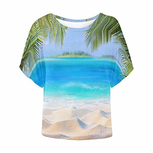 InterestPrint Women Short Sleeve Round Neck T-Shirt Casual Blouse Tropical Sand L by InterestPrint