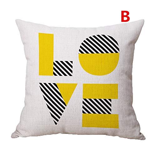 Lemon Yellow Throw Pillow Case Letter Diamond Bird Printed Chain Cotton Linen Pillow Cover Modern Cushion Cover Square Pillowcase Decoration for Sofa Bed Chair Car, 18 x 18 Inch