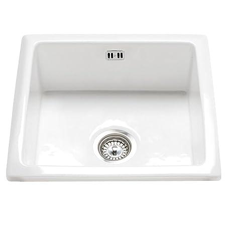 Astini Hampton 100 1.0 Bowl White Ceramic Undermount/Inset Kitchen ...